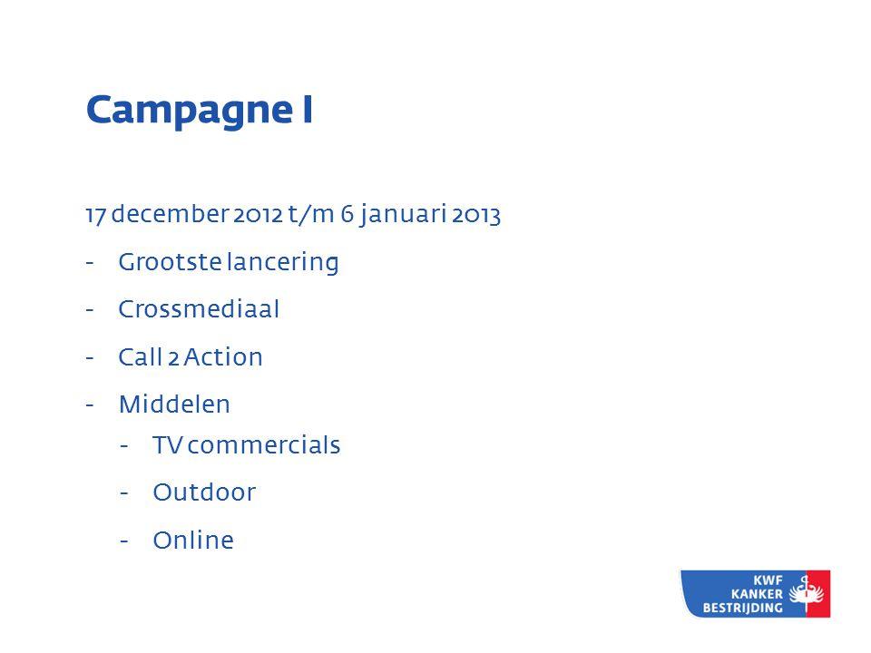 Campagne I 17 december 2012 t/m 6 januari 2013 Grootste lancering