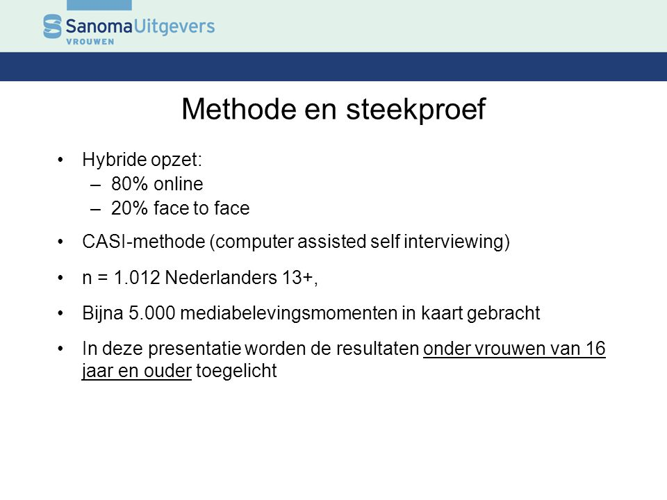 Methode en steekproef Hybride opzet: 80% online 20% face to face
