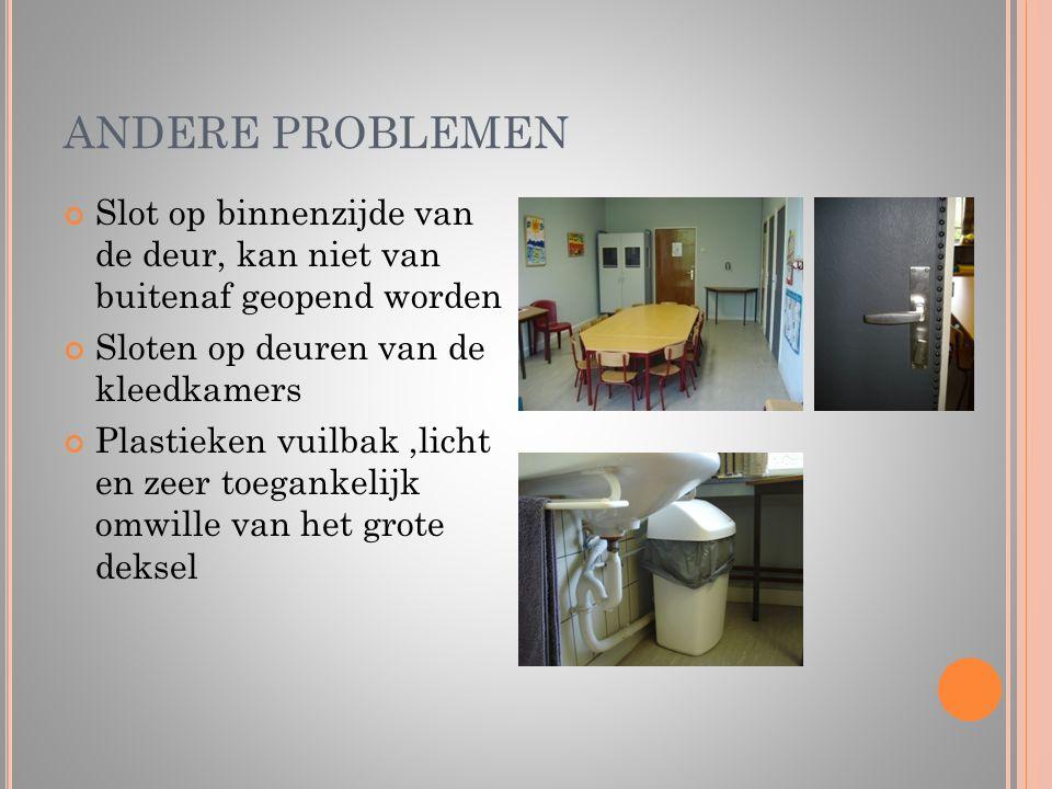 ANDERE PROBLEMEN Slot op binnenzijde van de deur, kan niet van buitenaf geopend worden. Sloten op deuren van de kleedkamers.
