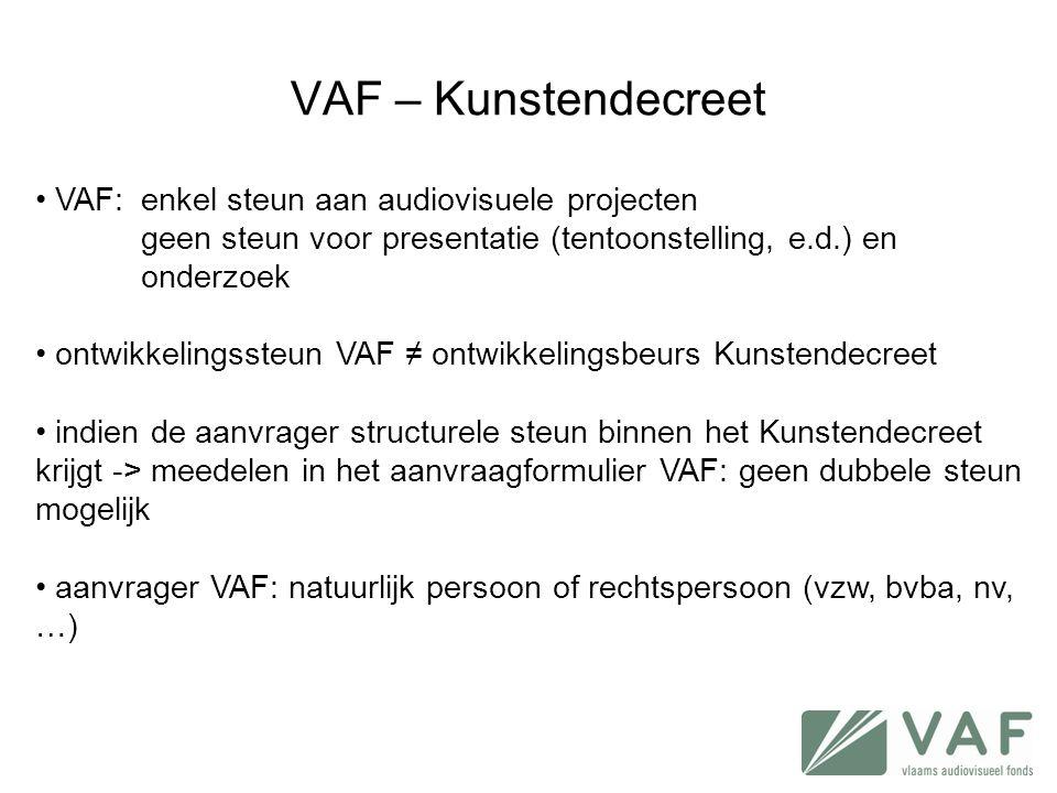 VAF – Kunstendecreet VAF: enkel steun aan audiovisuele projecten
