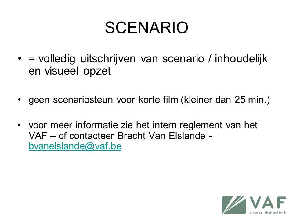 SCENARIO = volledig uitschrijven van scenario / inhoudelijk en visueel opzet. geen scenariosteun voor korte film (kleiner dan 25 min.)