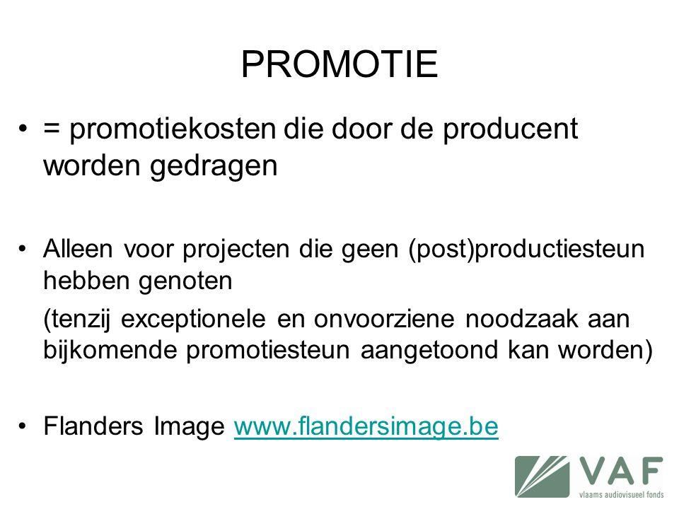 PROMOTIE = promotiekosten die door de producent worden gedragen