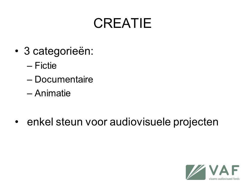 CREATIE 3 categorieën: enkel steun voor audiovisuele projecten Fictie