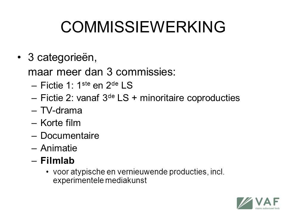 COMMISSIEWERKING 3 categorieën, maar meer dan 3 commissies: