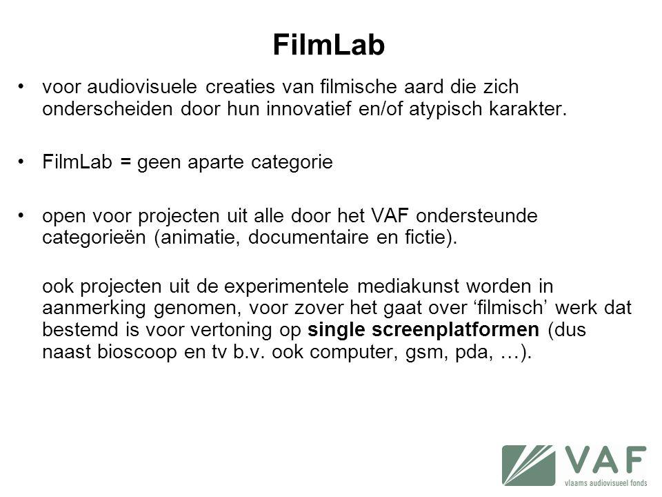FilmLab voor audiovisuele creaties van filmische aard die zich onderscheiden door hun innovatief en/of atypisch karakter.