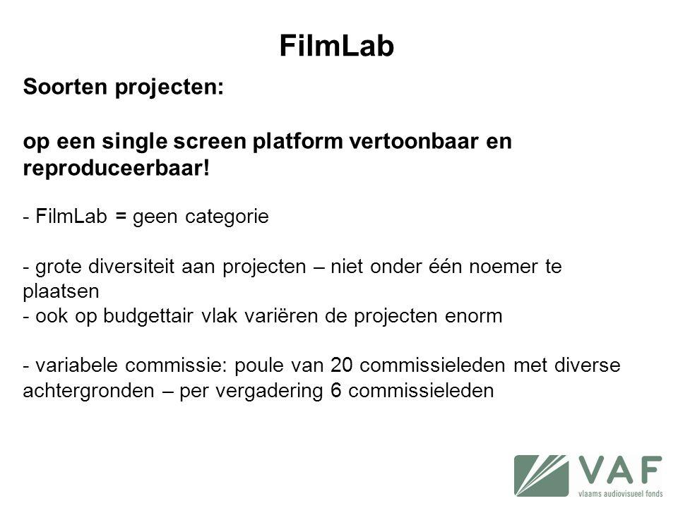 FilmLab Soorten projecten: