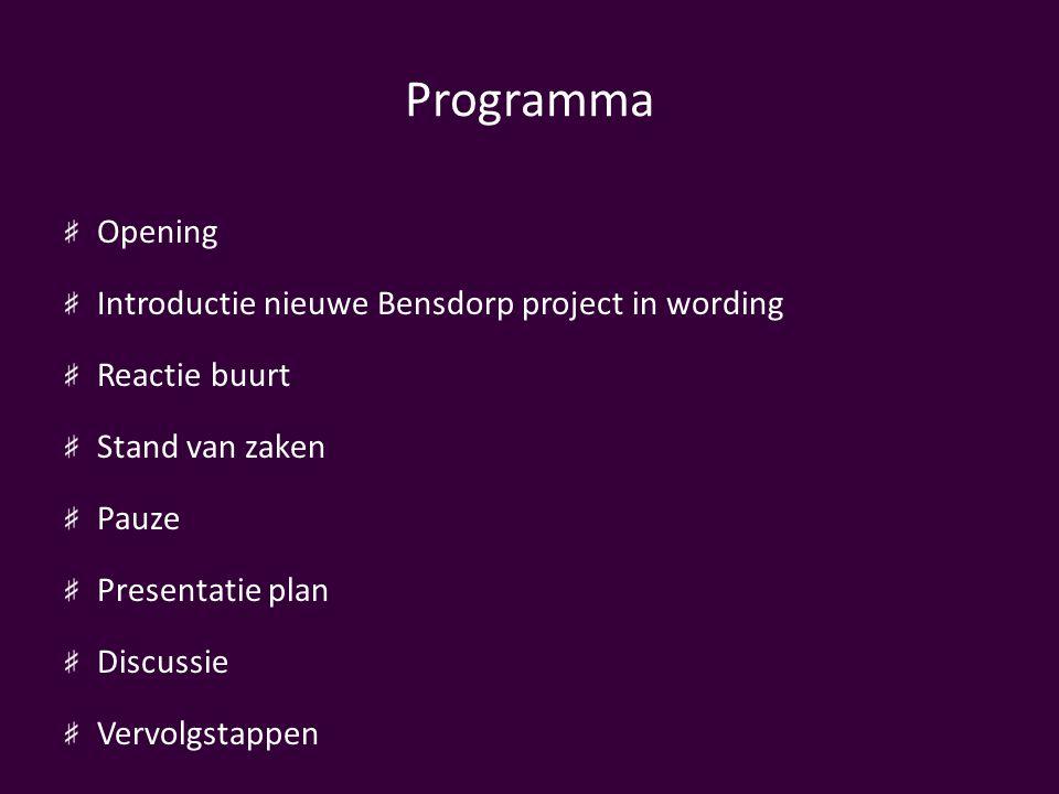 Programma Opening Introductie nieuwe Bensdorp project in wording