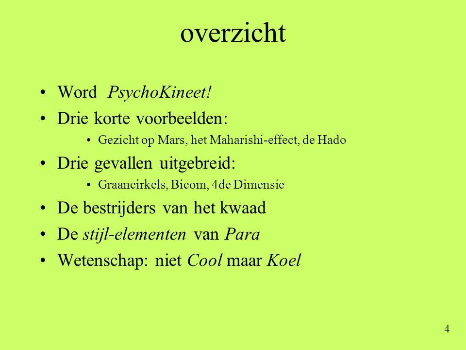 overzicht Word PsychoKineet! Drie korte voorbeelden:
