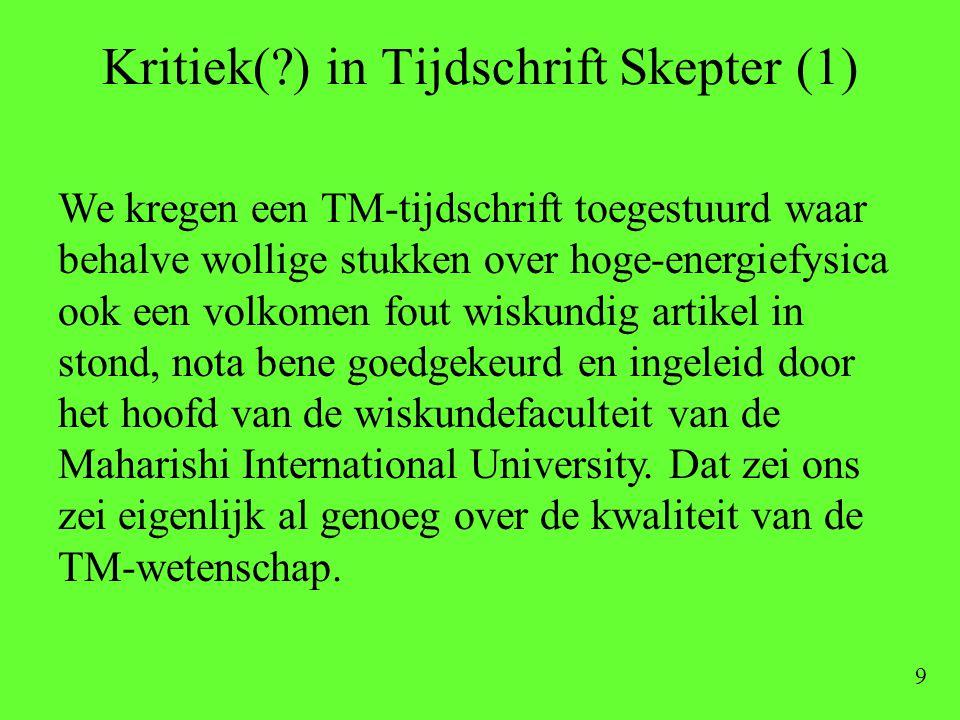 Kritiek( ) in Tijdschrift Skepter (1)