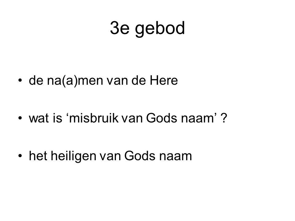 3e gebod de na(a)men van de Here wat is 'misbruik van Gods naam'
