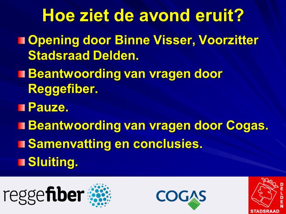 Hoe ziet de avond eruit Opening door Binne Visser, Voorzitter Stadsraad Delden. Beantwoording van vragen door Reggefiber.