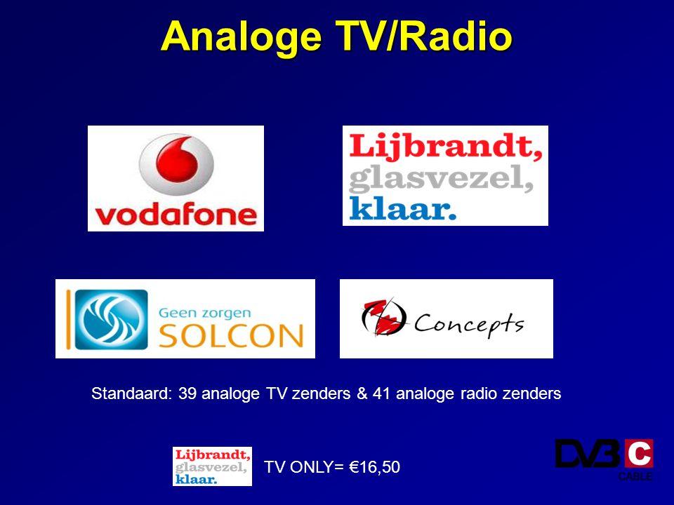 Standaard: 39 analoge TV zenders & 41 analoge radio zenders