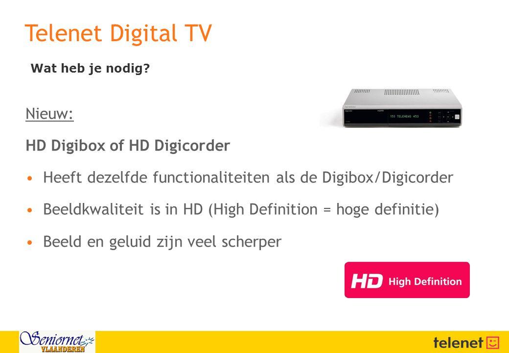 Telenet Digital TV Nieuw: HD Digibox of HD Digicorder