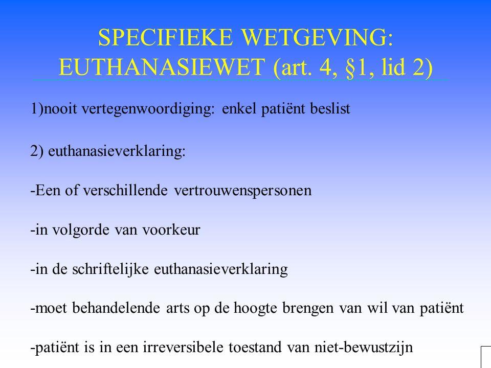 SPECIFIEKE WETGEVING: EUTHANASIEWET (art. 4, §1, lid 2)