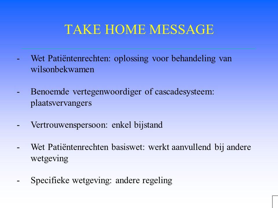 TAKE HOME MESSAGE Wet Patiëntenrechten: oplossing voor behandeling van wilsonbekwamen.