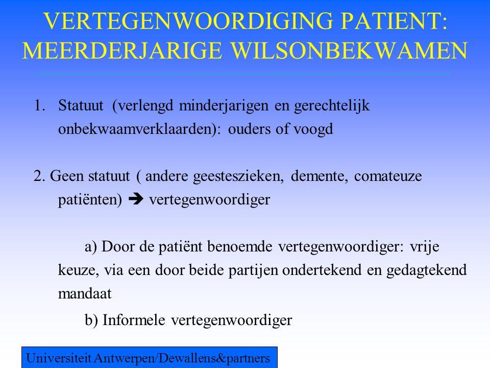 VERTEGENWOORDIGING PATIENT: MEERDERJARIGE WILSONBEKWAMEN