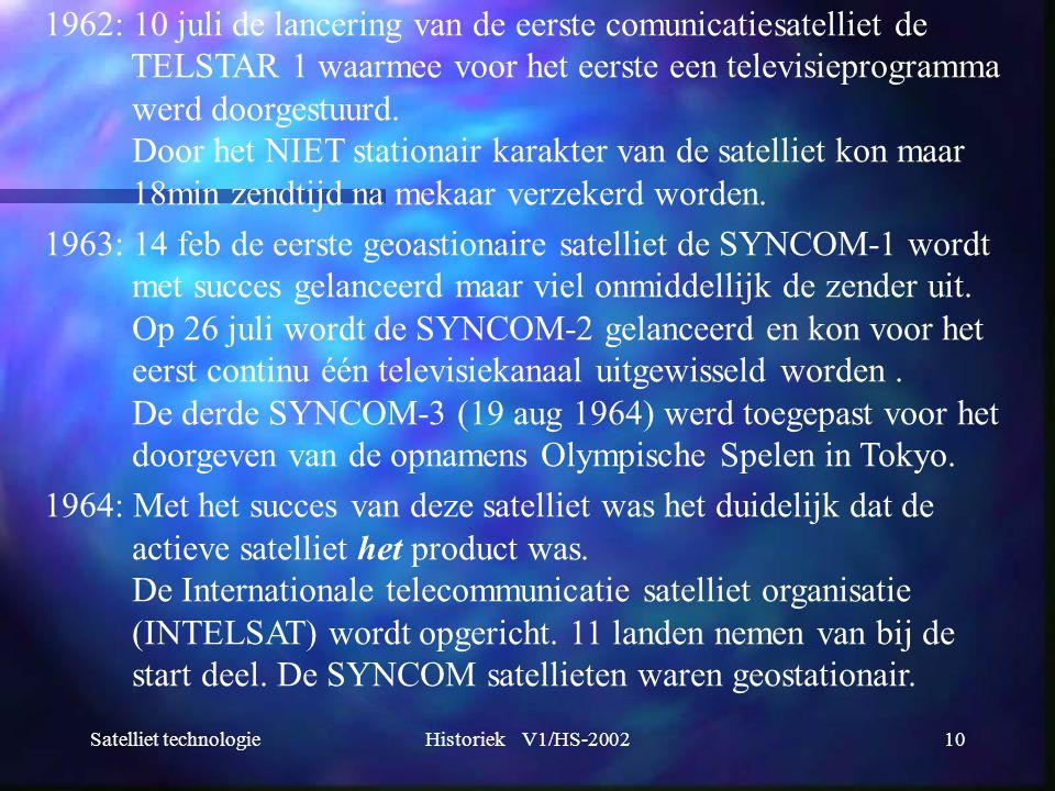 1962: 10 juli de lancering van de eerste comunicatiesatelliet de