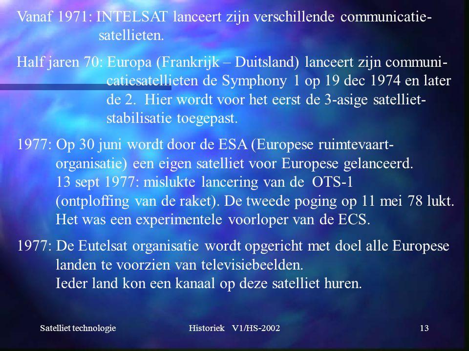 Vanaf 1971: INTELSAT lanceert zijn verschillende communicatie-