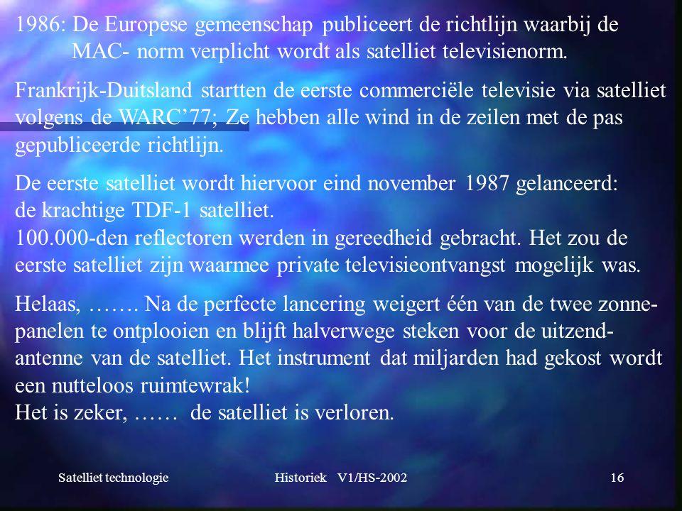 1986: De Europese gemeenschap publiceert de richtlijn waarbij de