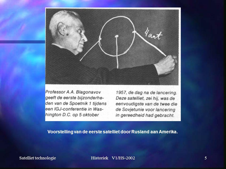 Voorstelling van de eerste satelliet door Rusland aan Amerika.