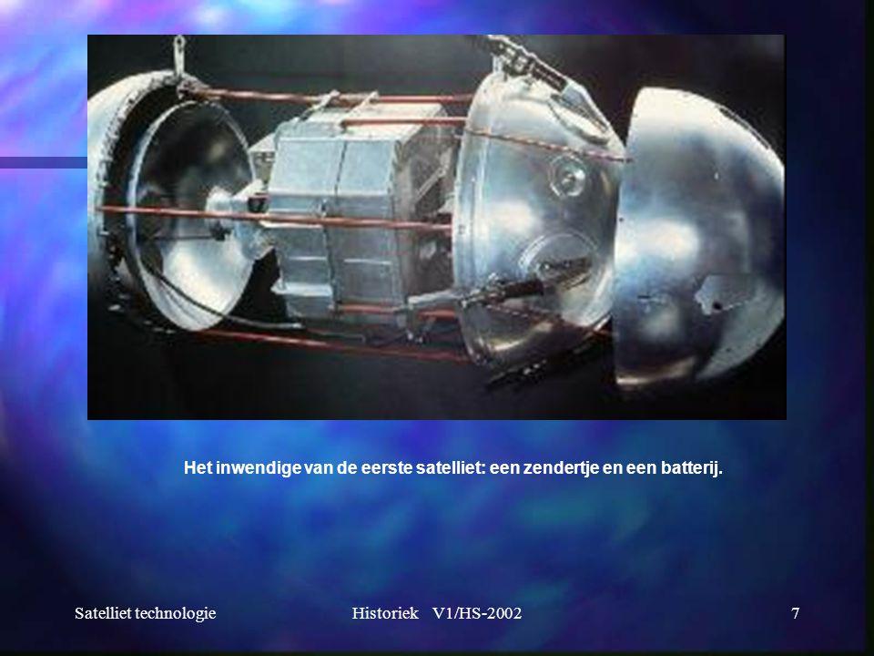 Het inwendige van de eerste satelliet: een zendertje en een batterij.