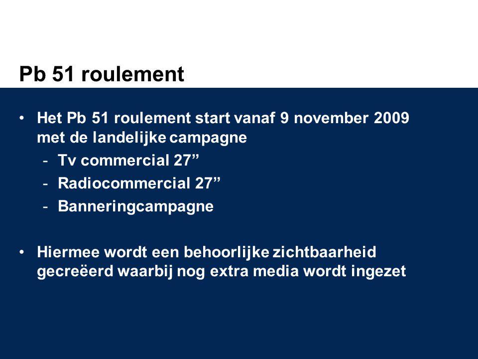 Pb 51 roulement Het Pb 51 roulement start vanaf 9 november 2009 met de landelijke campagne. Tv commercial 27