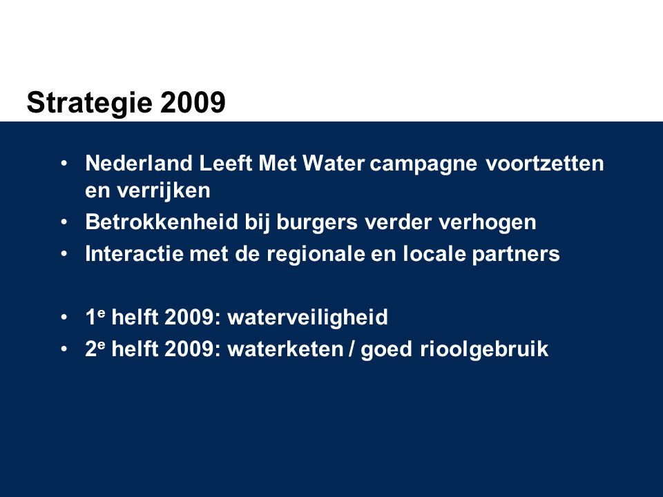 Strategie 2009 Nederland Leeft Met Water campagne voortzetten en verrijken. Betrokkenheid bij burgers verder verhogen.