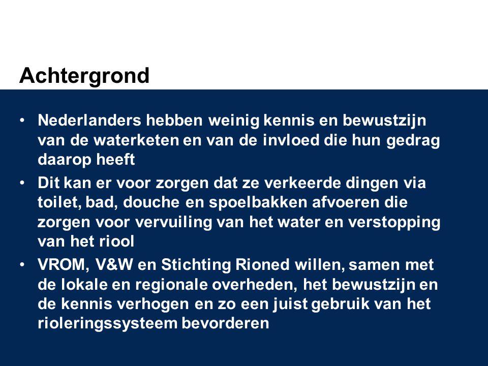 Achtergrond Nederlanders hebben weinig kennis en bewustzijn van de waterketen en van de invloed die hun gedrag daarop heeft.