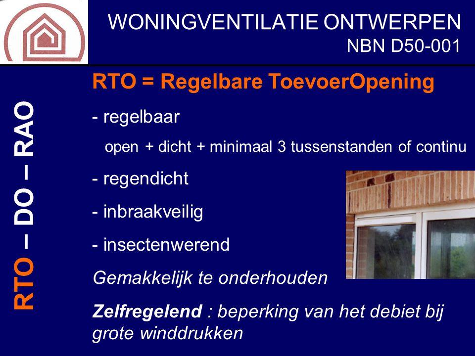 RTO – DO – RAO RTO = Regelbare ToevoerOpening NBN D50-001 regelbaar