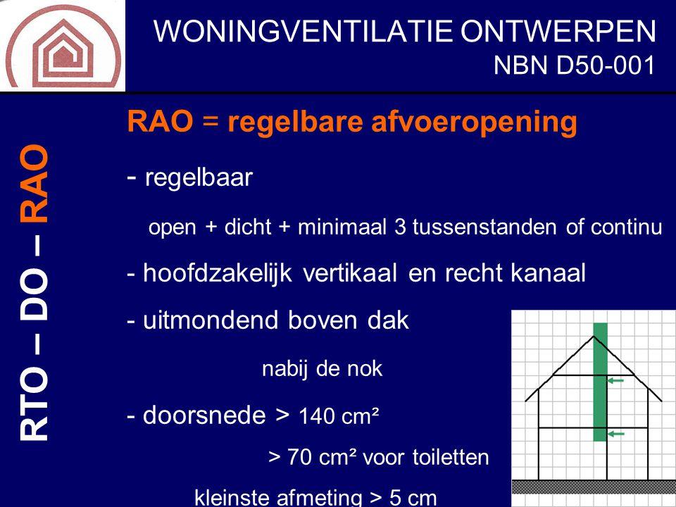 RTO – DO – RAO RAO = regelbare afvoeropening regelbaar NBN D50-001