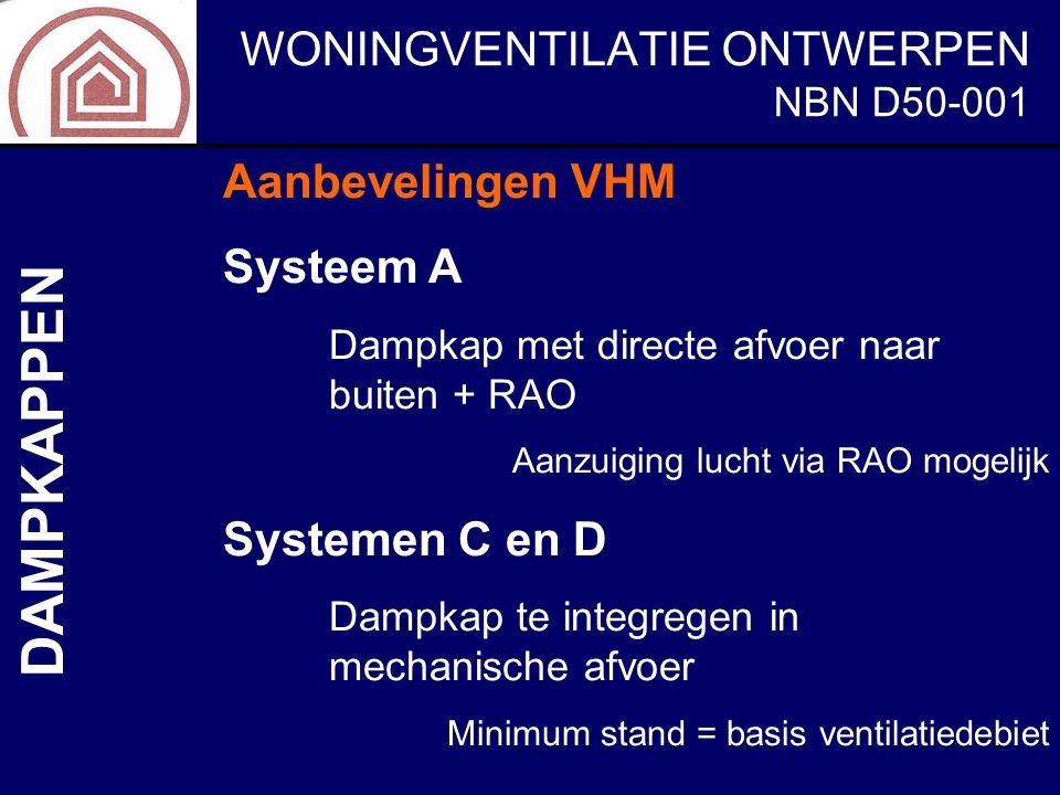 DAMPKAPPEN Aanbevelingen VHM Systeem A Systemen C en D NBN D50-001