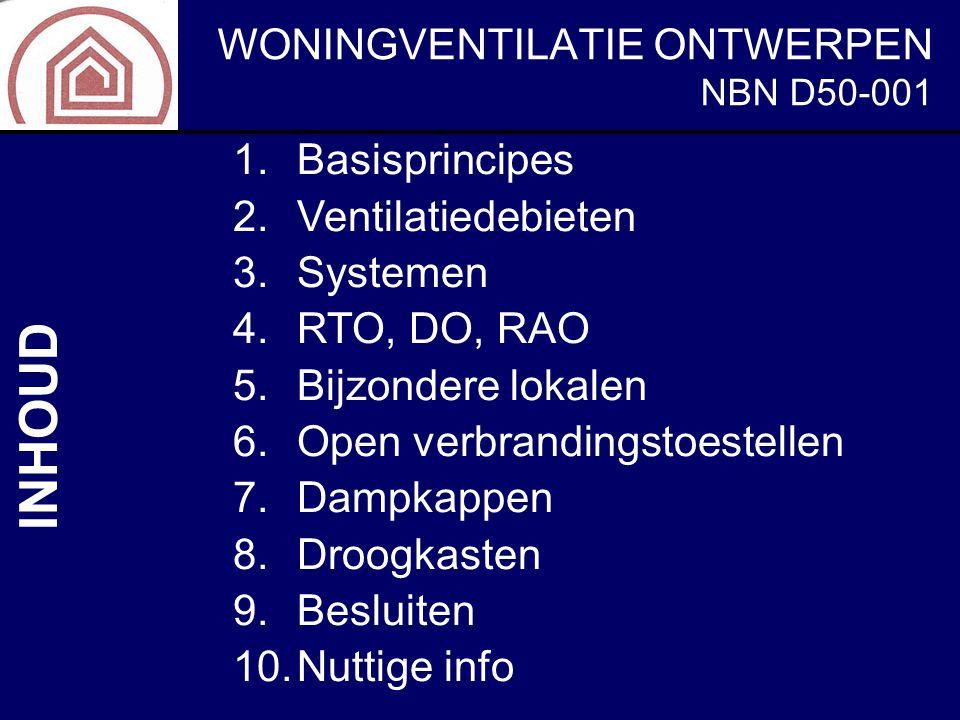 INHOUD Basisprincipes Ventilatiedebieten Systemen RTO, DO, RAO
