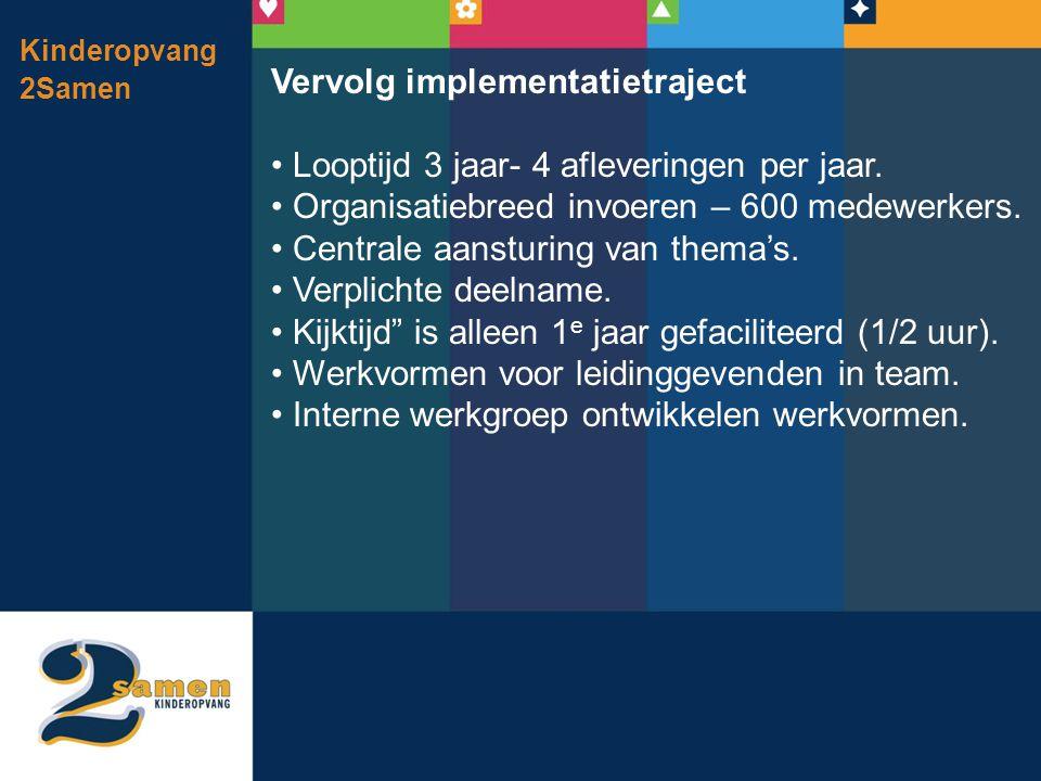 Vervolg implementatietraject Looptijd 3 jaar- 4 afleveringen per jaar.