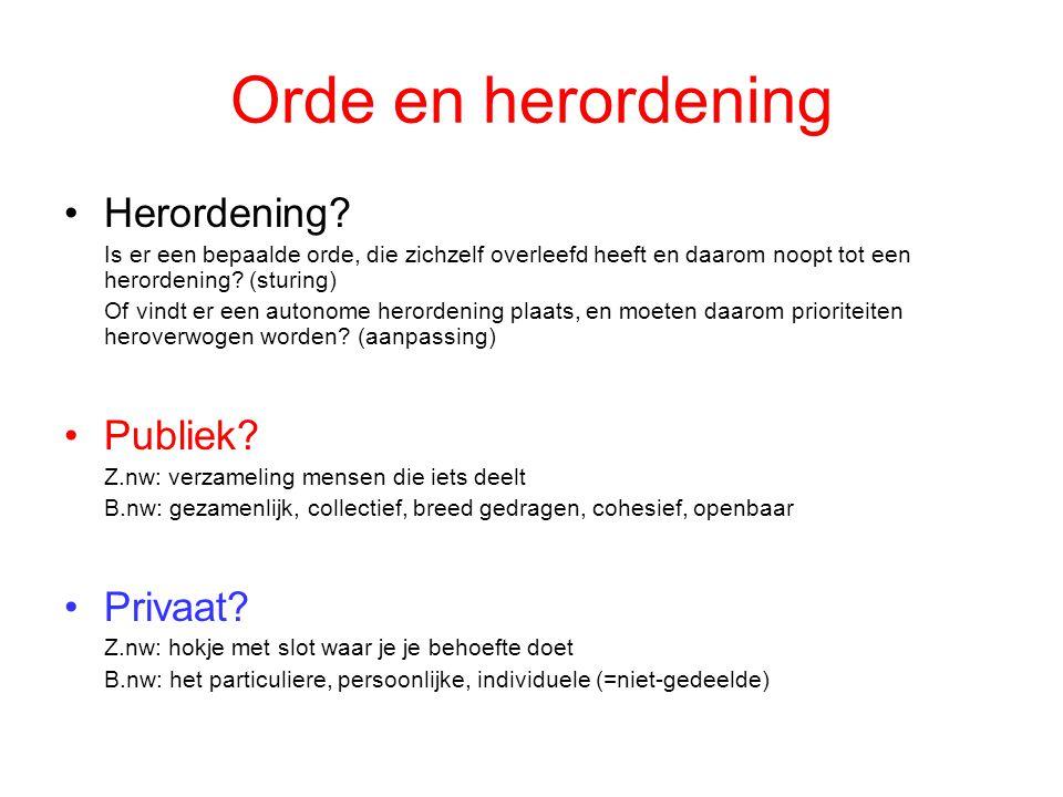 Orde en herordening Herordening Publiek Privaat