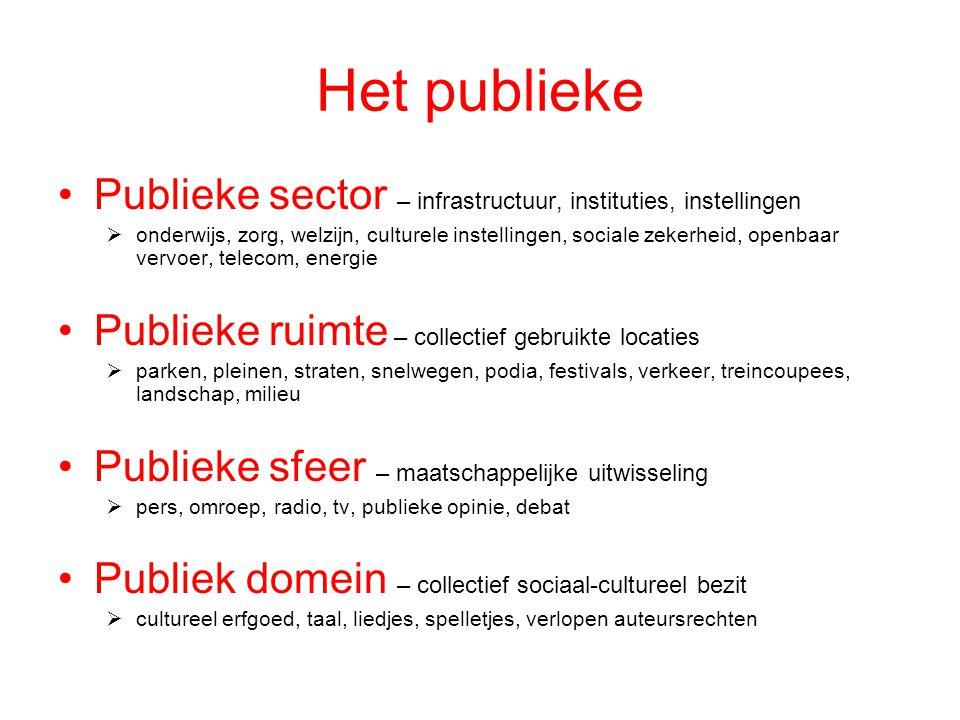 Het publieke Publieke sector – infrastructuur, instituties, instellingen.