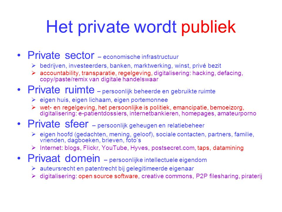 Het private wordt publiek