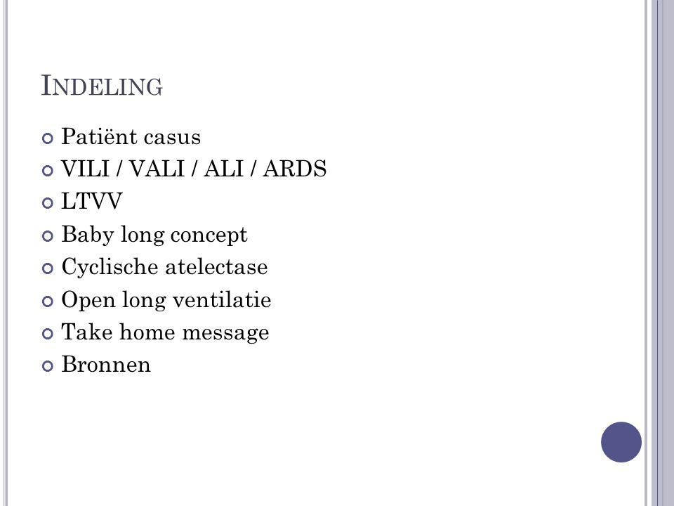 Indeling Patiënt casus VILI / VALI / ALI / ARDS LTVV Baby long concept