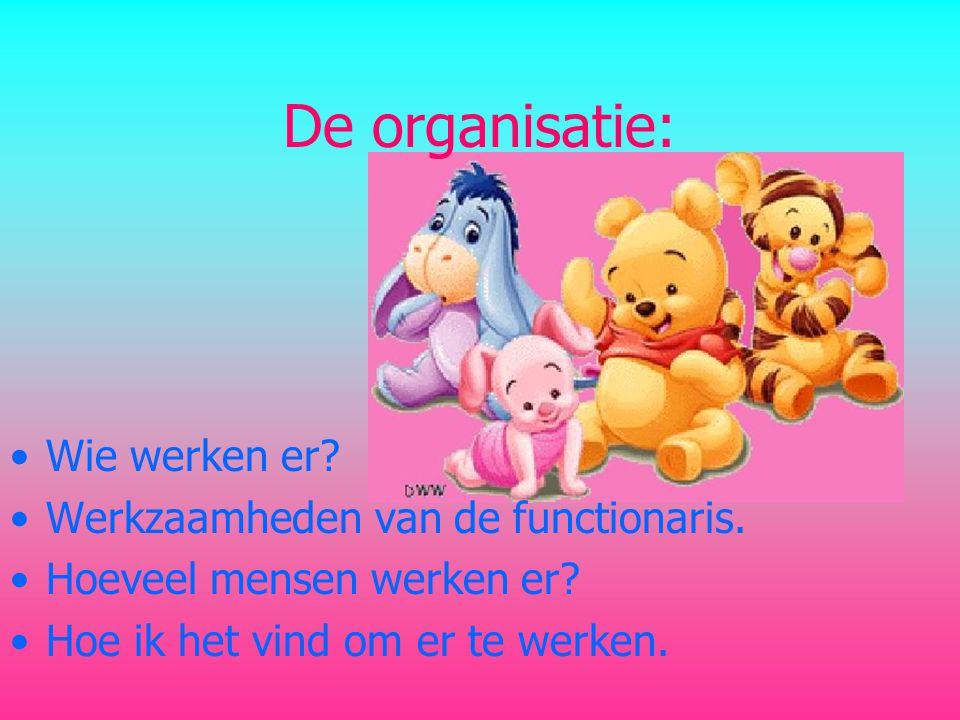 De organisatie: Wie werken er Werkzaamheden van de functionaris.