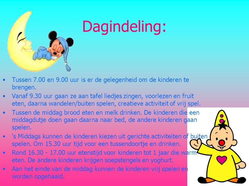 Dagindeling: Tussen 7.00 en 9.00 uur is er de gelegenheid om de kinderen te brengen.