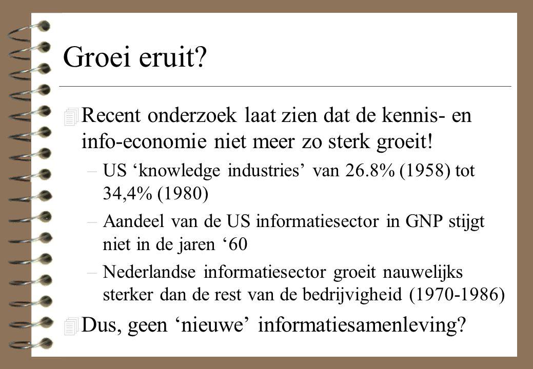 Groei eruit Recent onderzoek laat zien dat de kennis- en info-economie niet meer zo sterk groeit!
