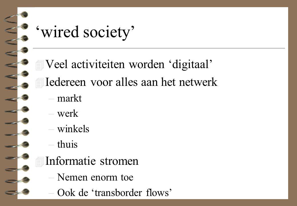 'wired society' Veel activiteiten worden 'digitaal'