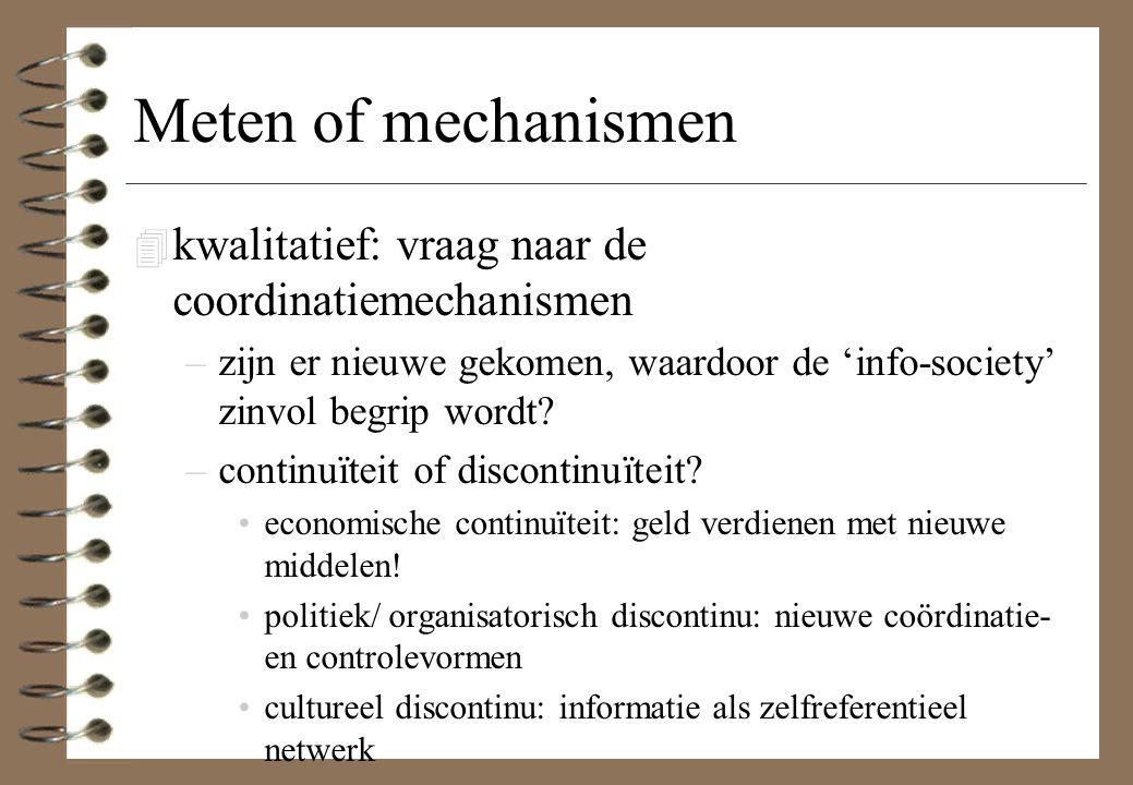 Meten of mechanismen kwalitatief: vraag naar de coordinatiemechanismen