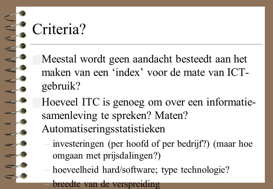 Criteria Meestal wordt geen aandacht besteedt aan het maken van een 'index' voor de mate van ICT-gebruik