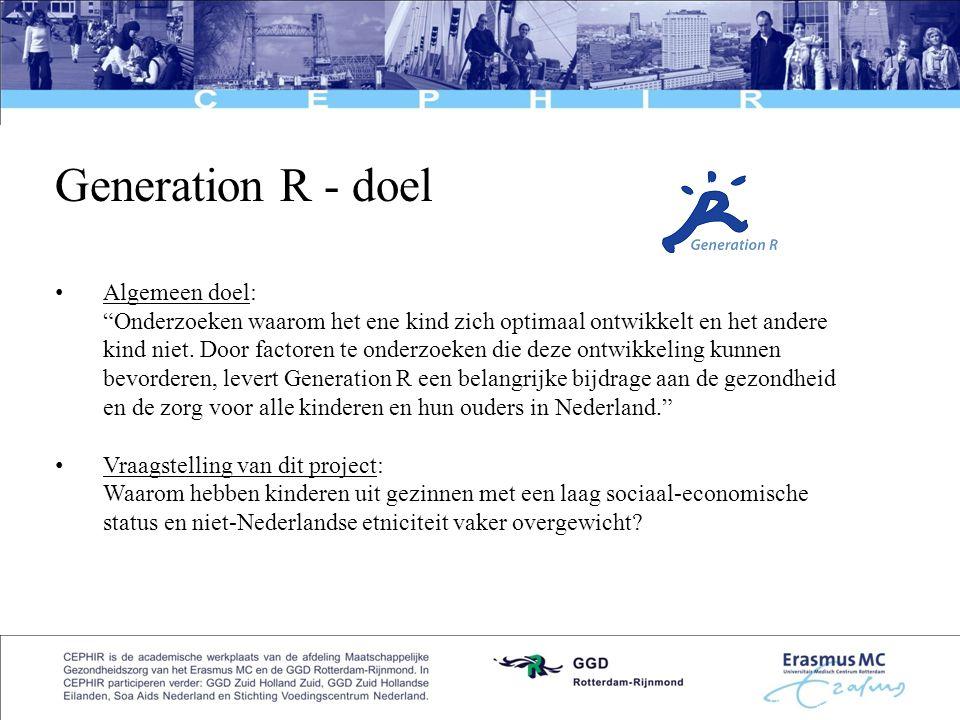 Generation R - doel Algemeen doel: