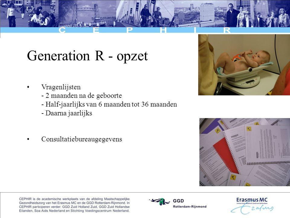 Generation R - opzet Vragenlijsten - 2 maanden na de geboorte