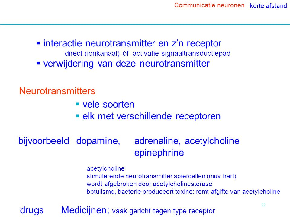 interactie neurotransmitter en z'n receptor