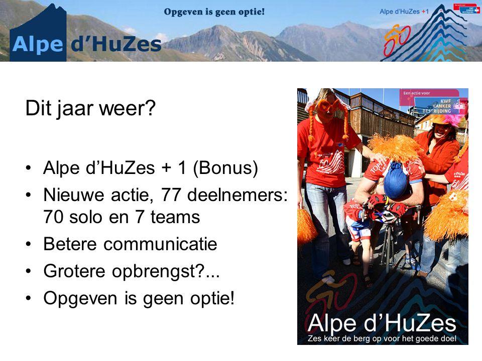 Dit jaar weer Alpe d'HuZes + 1 (Bonus)