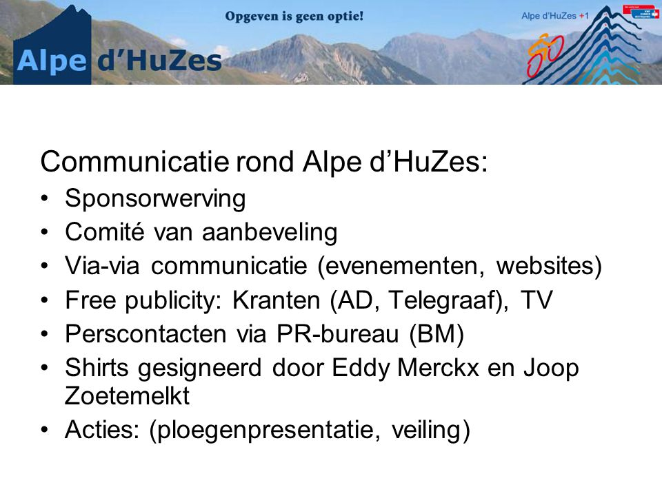 Communicatie rond Alpe d'HuZes: