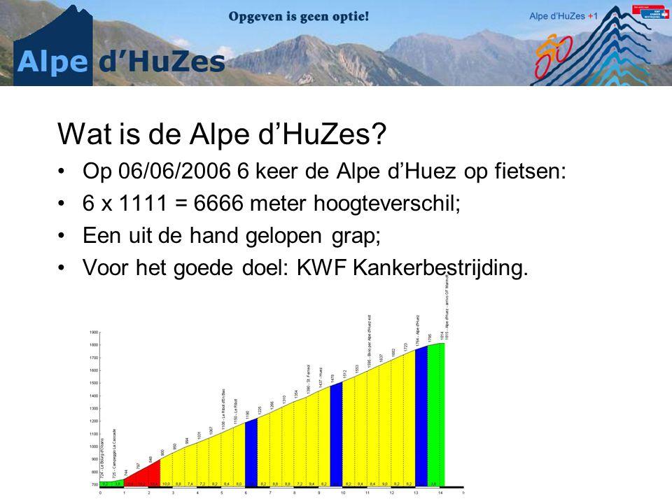 Wat is de Alpe d'HuZes Op 06/06/2006 6 keer de Alpe d'Huez op fietsen: 6 x 1111 = 6666 meter hoogteverschil;