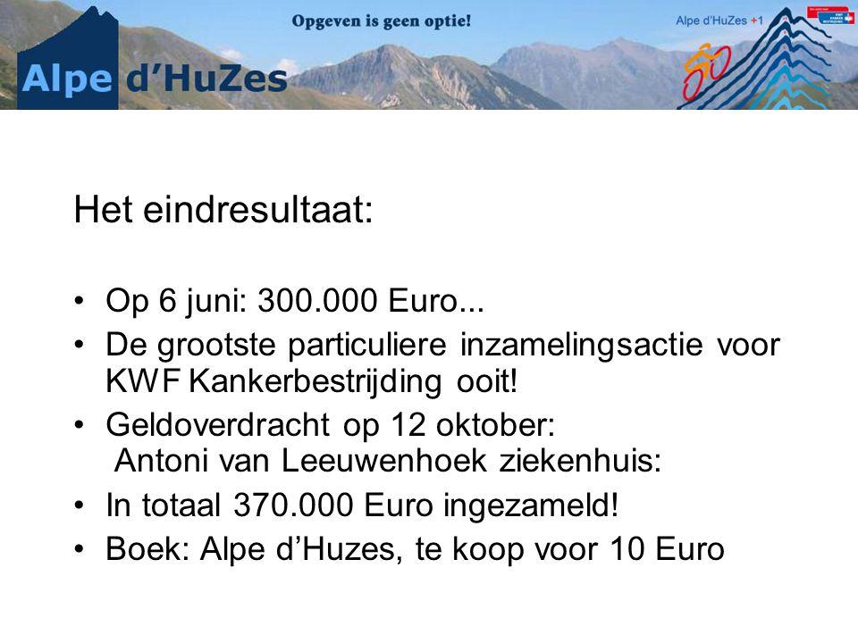 Het eindresultaat: Op 6 juni: 300.000 Euro...